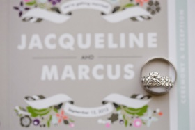Solitaire engagement ring on top of wedding invite