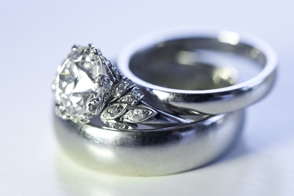 Wedding bands with vintage diamond engagement ring