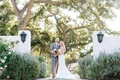 ojai valley inn wedding, bride in oscar de la renta wedding dress, groom in grey suit