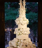 Tall wedding cake fresh flowers peony blooms circle tier sentimental cake topper antique vintage