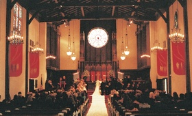 Interior of Presbyterian church wedding