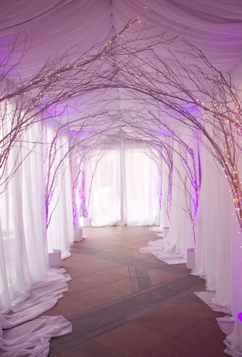 White tent and string lights on standing branches