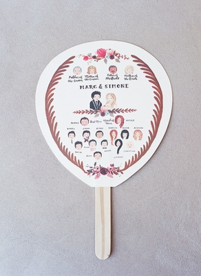 Fan with illustrations of the bride and groom, their parents, and wedding party by Rifle Paper Co.