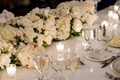 Wedding reception white with candle votives white rose and hydrangea flower arrangement