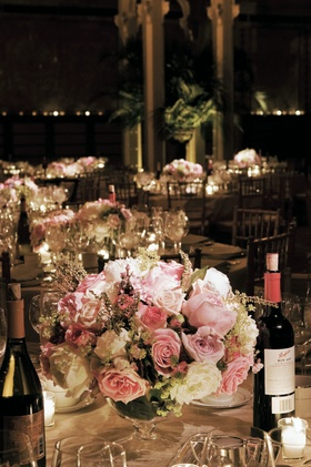Short bowl vases and wine bottles