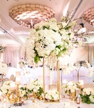 wedding reception flower print table ballroom gold stand white orchid hydrangea anemone rose branch
