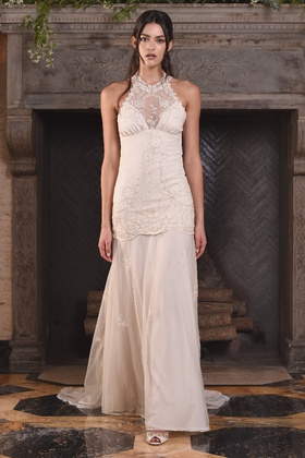 Claire Pettibone Four Seasons Couture Collection Athena tulle halter a-line bridal gown
