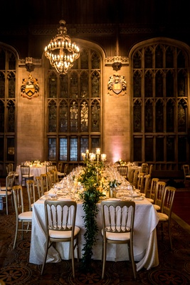 university club of chicago cathedral hall wedding, garland runner, long table