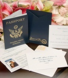 Passport replica invites and response cards