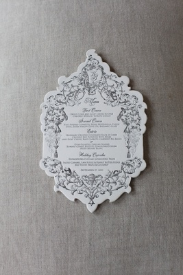 Katherine Kallinis wedding menu card with scallop edges