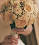 bride holds bouquet of white roses