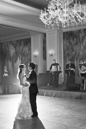 Black and white photo of live band first dance