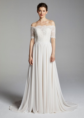 Blue Willow Bride Spring 2019 collection chiffon off the shoulder gown with short sleeves