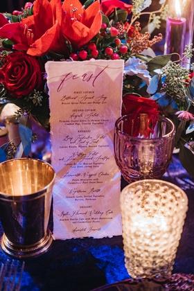 wedding reception menu handmade paper torn edge fest in calligraphy winter menu