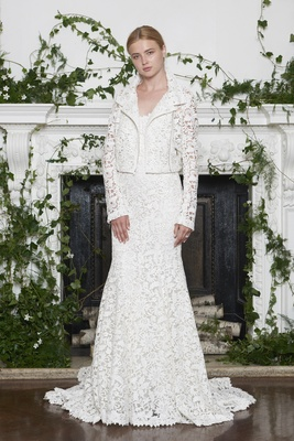 Monique Lhuillier Fall 2018 Laser-cut lace gown with matching lace motorcycle jacket