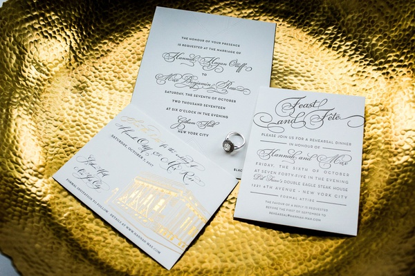 White and gold foil wedding invitation rehearsal dinner invite and save the date calligraphy