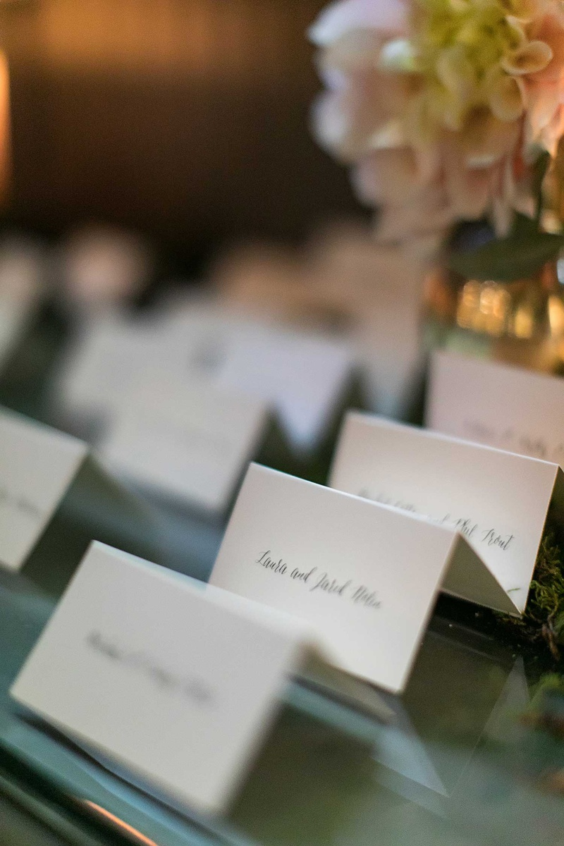 escort cards with calligraphy white ivory