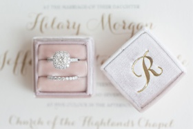 the mrs box engagement ring halo and diamond band in pink velvet ring box monogram initial gold