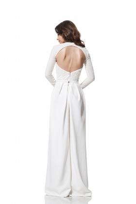 Open back bodice and sleeves with pants by Olia Zavozina Fall 2016