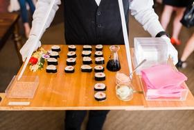 bridal shower food ideas, passed sushi, walking sushi station