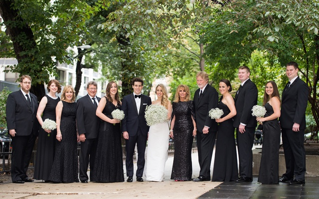 bride groom wedding party black outfits chicago modern details mom dad bouquets