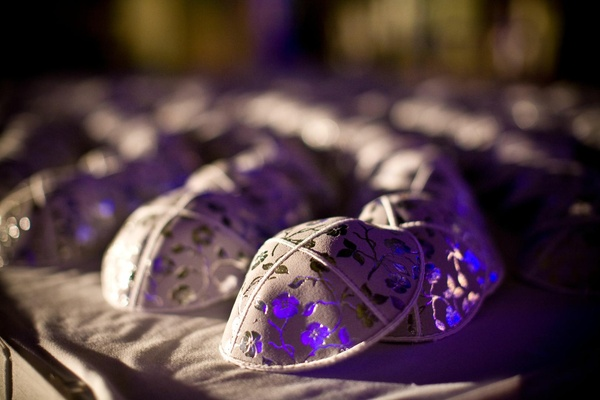 Grey yarmulke at Jewish wedding ceremony