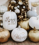 fall wedding ideas pumpkin decor white gold rose gold copper pumpkins at sweetheart table