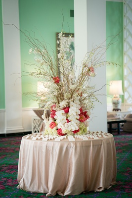 escort card table branches vibrant florals tree nature creative west virginia wedding reception