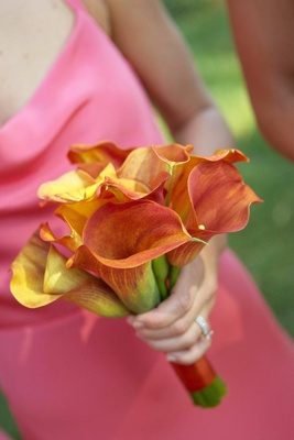 Small orange calla lily flower bouquet
