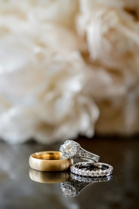 VIntage inspired wedding ring with halo and eternity wedding band gold band