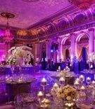 Purple and pink lighting at The Plaza ballroom wedding
