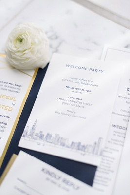 wedding invitation suite navy gold and white classic design chicago skyling ranunculus flower