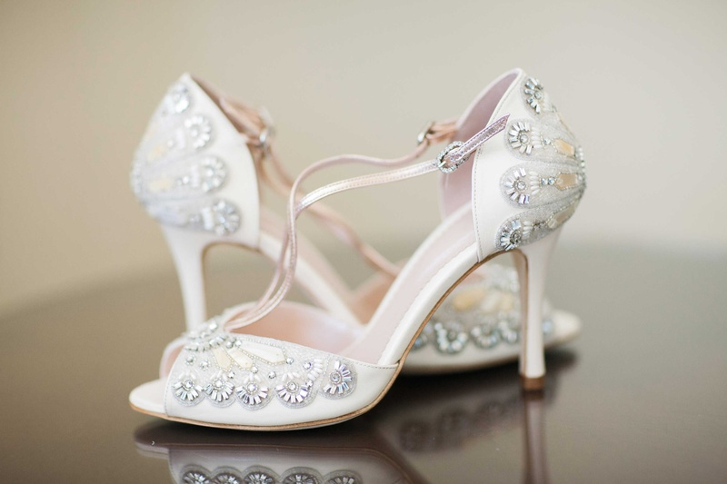 69f3a24ac2d2b4 low beaded bridal shoes pink inside gems details heels. Photographed by  Justin DeMutiis Photography