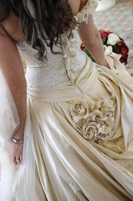 Back of corset wedding dress with rhinestones