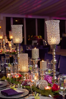 Moss centerpiece with crystal bling candleholders and flowers