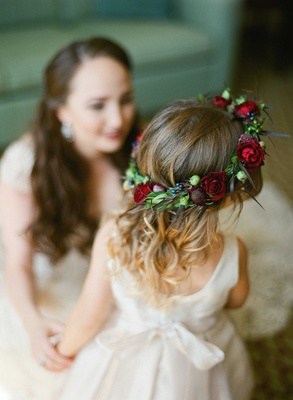 colorful floral crown flower girl red pink purple green roses thistles bohemian chic natural beauty