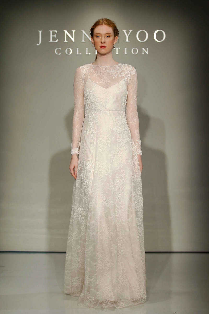 Jenny Yoo Bridal 2016 long sleeve Chantilly lace high neck gown