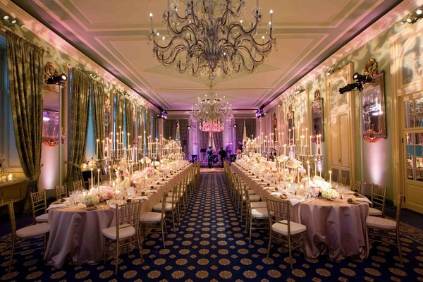 Italian estate ballroom chandeliers and drapes