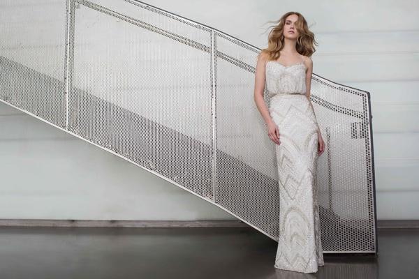 Limor Rosen 2017 Alice beaded wedding dress blouson top and sheath skirt