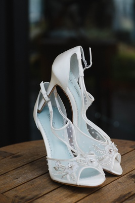 "bella belle bridal heels with baby blue insole for ""something blue"", sheer details"