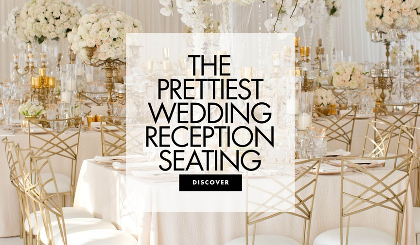 the prettiest wedding reception seating white and gold wedding decor chair ideas