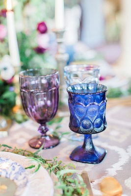 purple and blue glassware for wedding reception colored drinkware