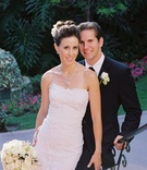 Bride and groom in formal attire at California wedding