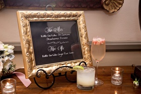 orant gold frame, signature drink menu, wedding cocktail hour