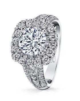 Sparkling diamond ring with halo and multi-row diamond shank