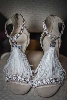jimmy choo viola white suede heels with crystals and ostrich feathers
