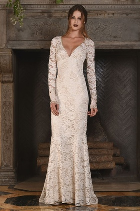 Claire Pettibone Four Seasons Couture Collection Amber lace v neck long sleeve sheath bridal gown