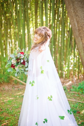 bride long chapel length church length veil shamrocks