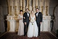 wedding portrait bride and groom with family parents chicago catholic ceremony venue