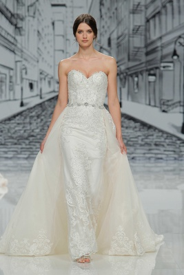 Justin Alexander Spring Summer 2017 strapless sweetheart neckline with detachable skirt train lace